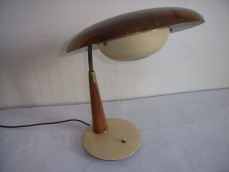 Leather and metal table lamp in the style of Adnet