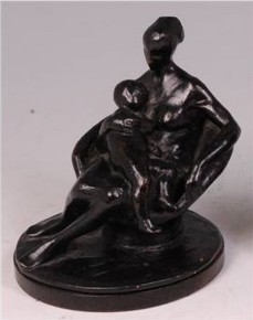 Mother and Child bronze sculpture