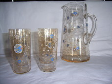 Fritz Eckert enamel glass jug and glasses