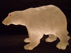 Rock crystal bear with ruby eyes