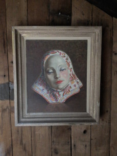 Oil painting of a Lenci mask