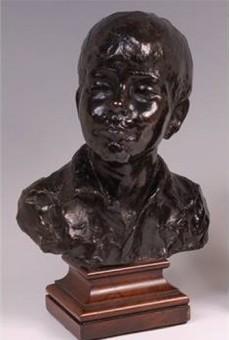 Mengarini, bronze bust of a boy