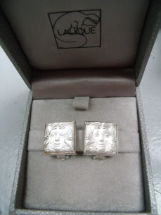 "Lalique, ""Arethuse"" silver earrings"
