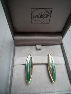 Lalique, silver gilt earrings